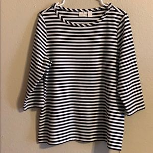 Chico's side zip striped top size large